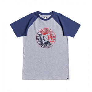 DC VANDALZ RAGLAN YOUTH TEE - NAVY/GREY