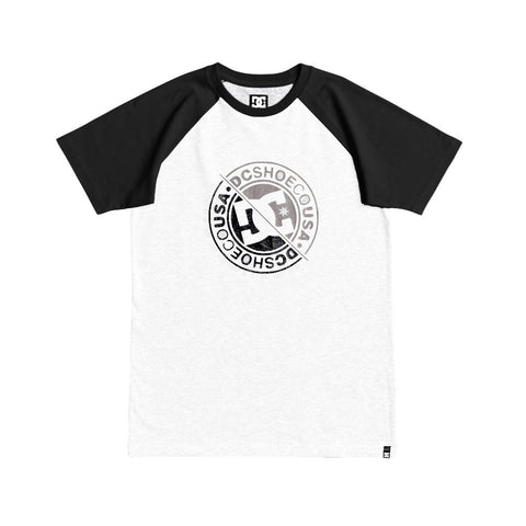 DC VANDALZ RAGLAN YOUTH TEE - BLACK/WHITE