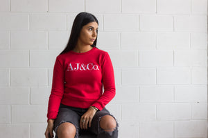 Signature Embroidered Jumper - Cherry Red