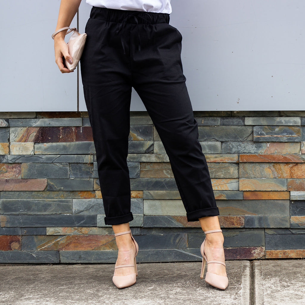 Faith Linen Pant - Charcoal - AJ & Co.