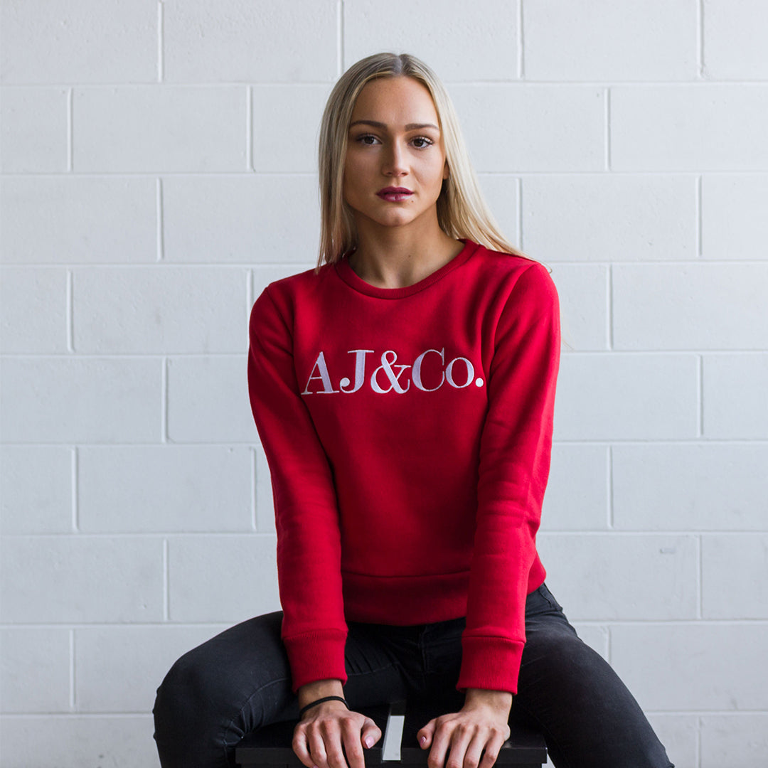 Signature Embroidered Jumper - Cherry Red - AJ & Co.
