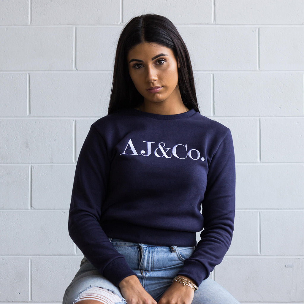 Signature Embroidered Jumper - Midnight Navy - AJ & Co.