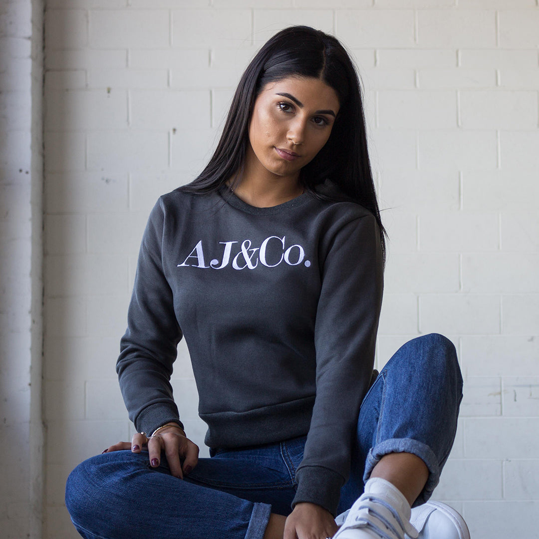 Signature Embroidered Jumper - Shadow Grey - AJ & Co.