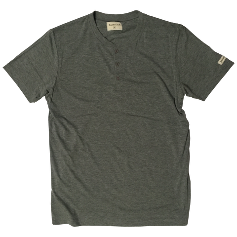 Basic Short Sleeve Henley (Heather Greay)