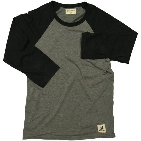 black and gray baseball 3/4 tee