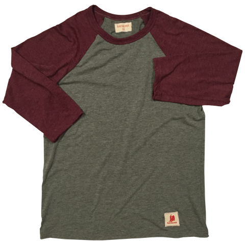 red and gray baseball tee 3/4 tee