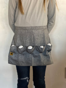 Grey Denim Egg gathering waist Apron!  Kids Sizes now available! - the Chicken Coop Company