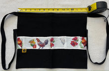 Black Denim Egg Apron with Chicken Print Pockets - 14 Pockets Hand Sewn!  Kids Sizes now available! - the Chicken Coop Company