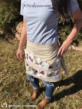 Muslin Egg Apron with Chicken Print - 14 Pockets Hand Sewn!