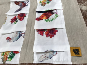 Muslin Egg Apron with Chicken Print - 14 Pockets Hand Sewn! - the Chicken Coop Company