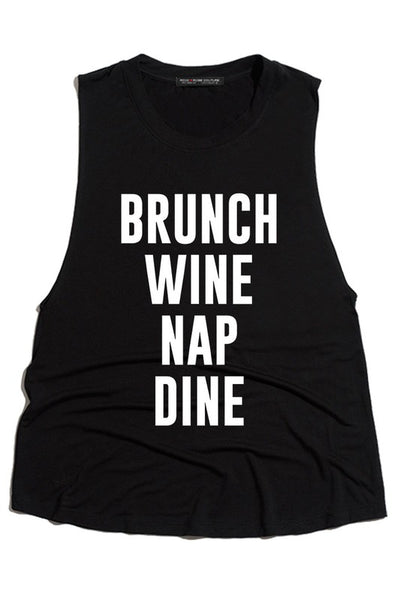 Brunch Wine Nap Dine Tank