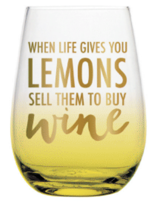 Life Give You Lemons Stemless Wine Glass - Harper East Boutique