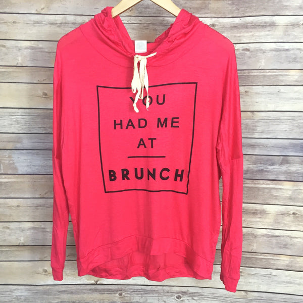 You Had Me At Brunch Hoodie - Hot Pink