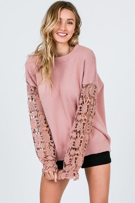 Rosé Colored Glasses Knit Top