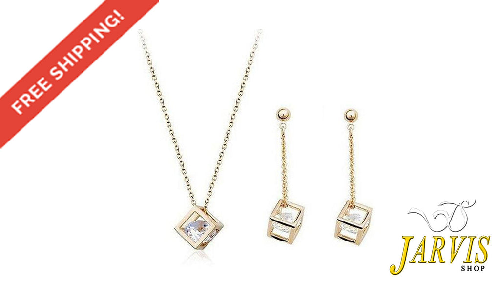 Diamond Crystals 18K Gold Plated Drop Earrings and Pendant Necklace