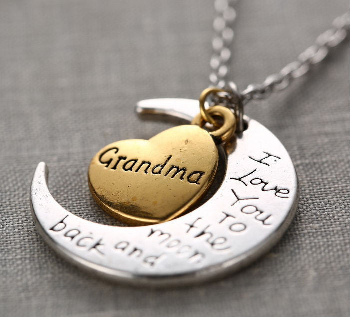 *FREE* GRANDMA NECKLACE GOLD or SILVER I LOVE YOU TO THE MOON & BACK