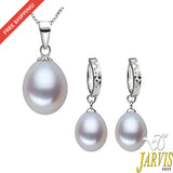 925 sterling silver pearl jewelry set ---Free Shipping---