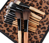 12 PCS Pro Makeup Soft Brush Set plus Leopard Bag