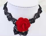 Retro Short Gothic Steampunk Lace Flower Collar Choker Necklace