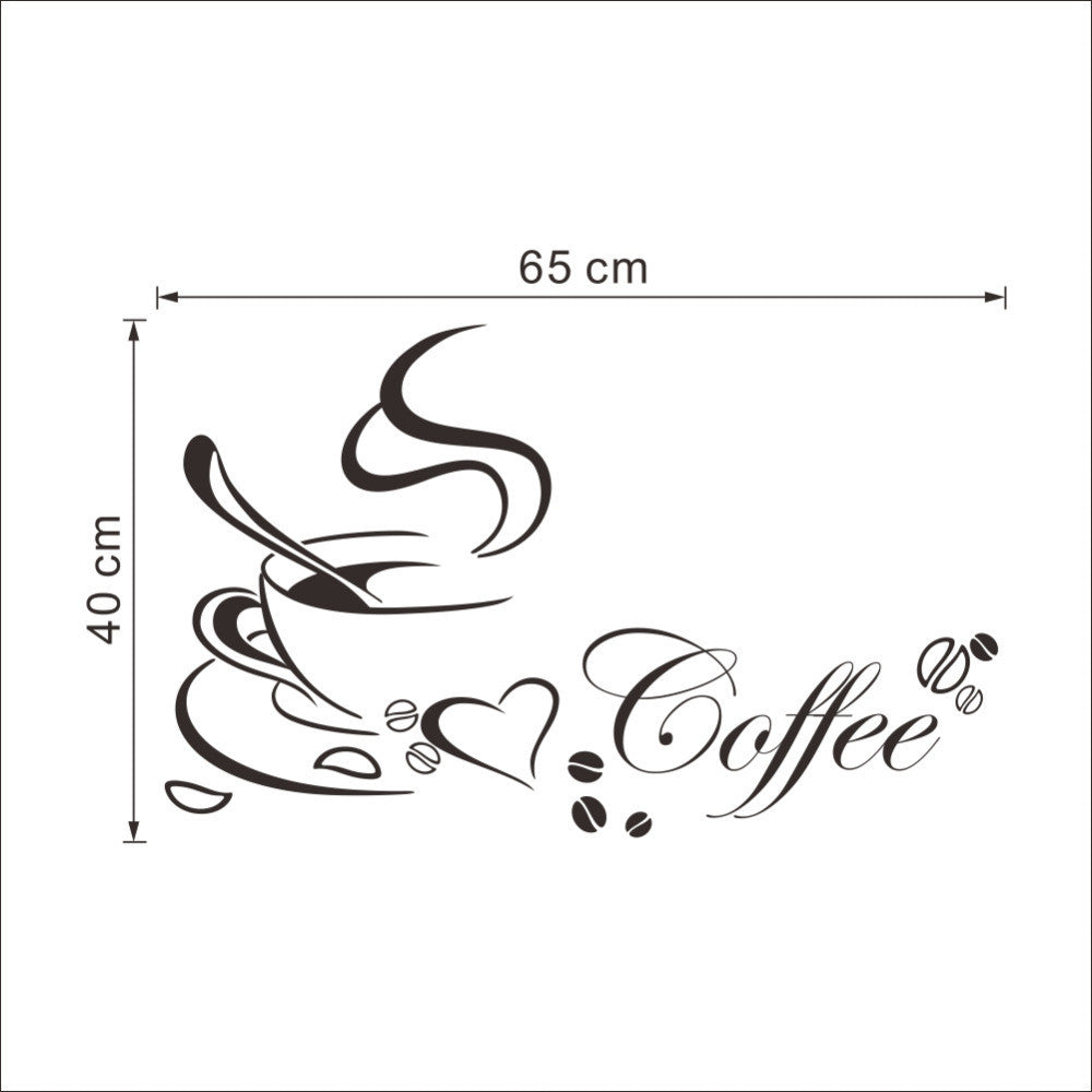 Coffee cup with heart vinyl quote Restaurant Kitchen removable wall Stickers DIY home decor wall art MURAL