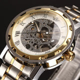Classic Brand SEWOR Men Skeleton Mechanical Watch Transparent Steampunk Hand Wind Full Stainless Steel Montre Homme Wristwatch