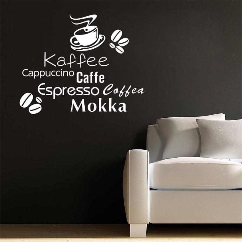 All kinds coffee quote wall stickers coffee cup coffee beans wall stickers home decoration