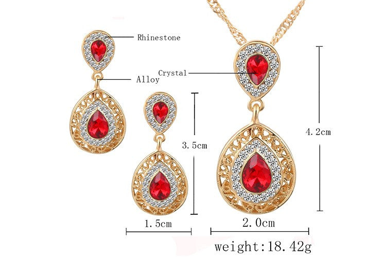 Double Water Drop Crystal Earrings Necklaces Set ---Free Shipping---