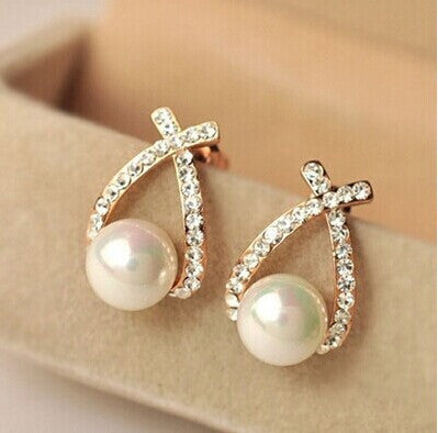 Gold Crystal Arch Stud Pearl Earrings
