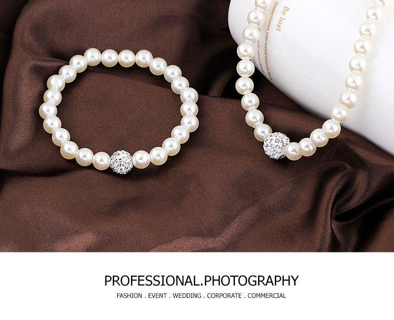 White Natural Freshwater Pearl Rhinestone Ball----->Free Shipping<-----