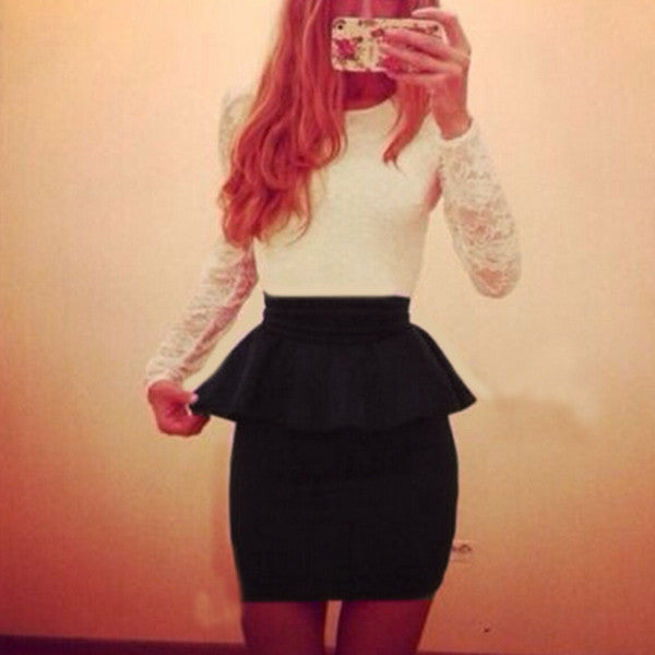 2015 New Style Long Sleeve Women Patchwork O Neck Slim Bodycon Sexy Lace Cocktail Party Peplum Flounce Pencil Dress Vestidos