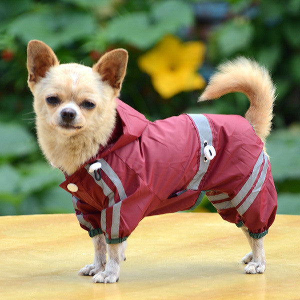 Puppy Pet Dog Raincoat Clothes Glisten Bar Hoody Waterproof Rain Jackets Apparel