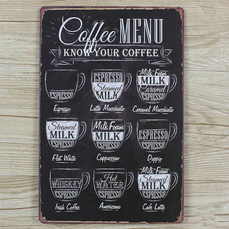 Coffee Menu Vintage Tin Sign Home Wall Decor FREE SHIPPING!!!