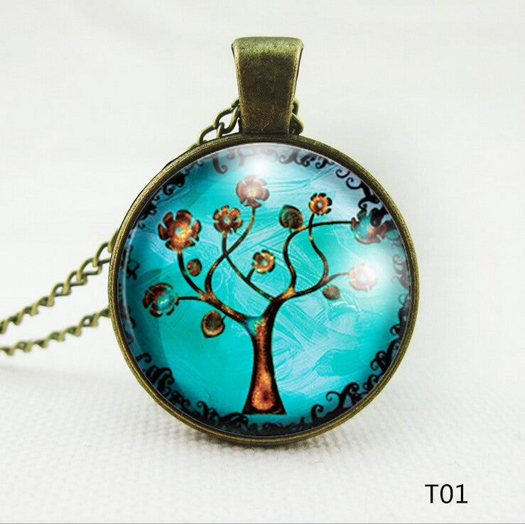 FREE SHIPPING Genuine Tree Glass Necklace Gift