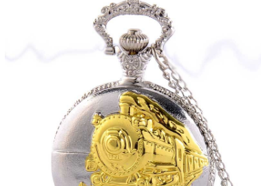 Vintage Train Carved Openable Pendant Pocket Watch