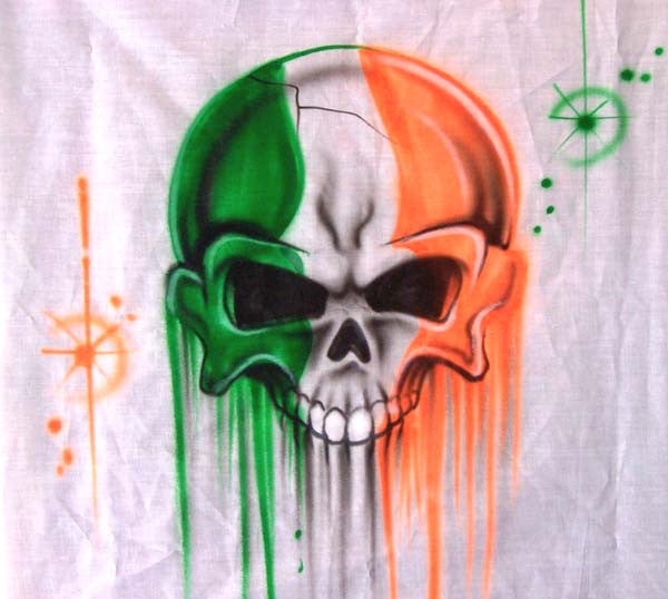 Irish Flag in Skull Airbrushed Shirt