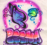 Airbrushed Butterflies & custom name shirt