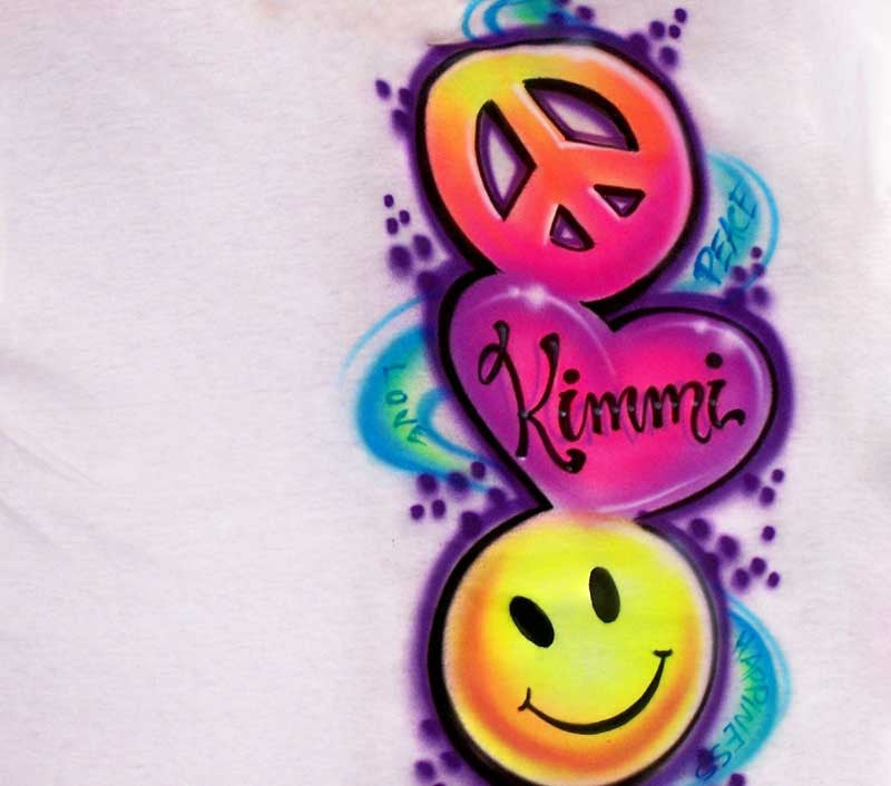 Colorful Peace, Love, & Happy Face Stacked with Any Name Airbrushed in the Heart