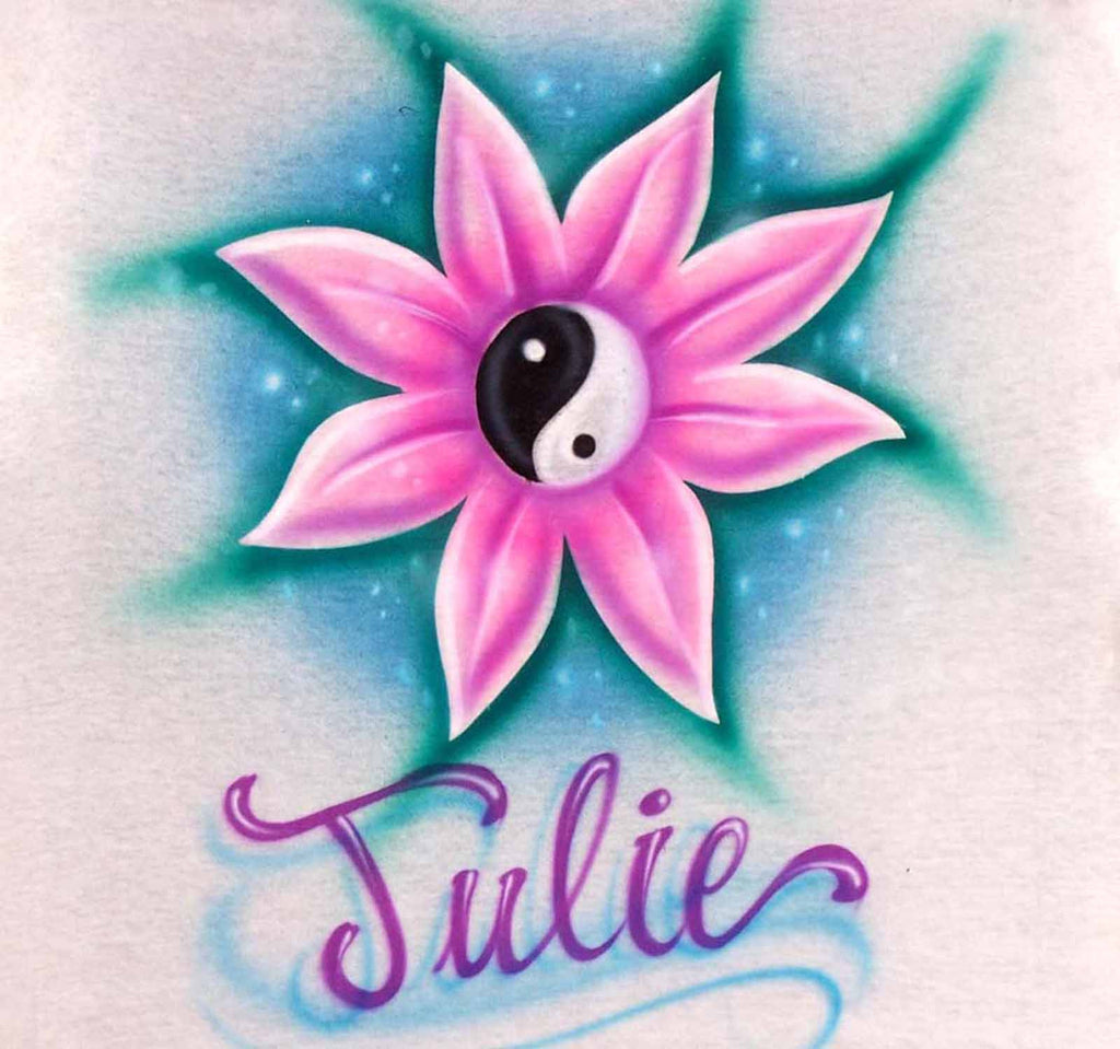 Flower Airbrushed with Yin Yang Symbol and Any Name of Choice for T's, Sweatshirts, and More