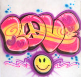 Love and smiley face design airbrushed shirt