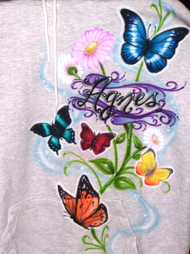 Custom Airbrushed Butterfly Collage Personalized on T-Shirts, Sweatshirts, & Hoodies