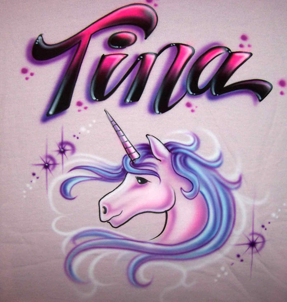 Unicorn & Stars Hand Painted Shirt with Any Name Added