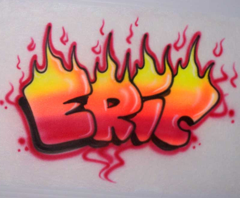 Airbrushed Name on Fire Personalized Shirt