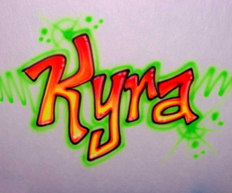 Neon Green Orange airbrush freestyle personalized shirt
