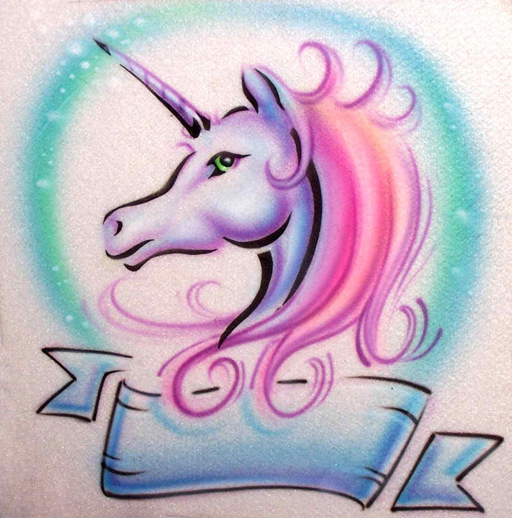 Stenciled Unicorn Airbrush Image on Your Personalized Shirt