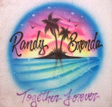 Together Forever airbrush sunset beach scene shirt