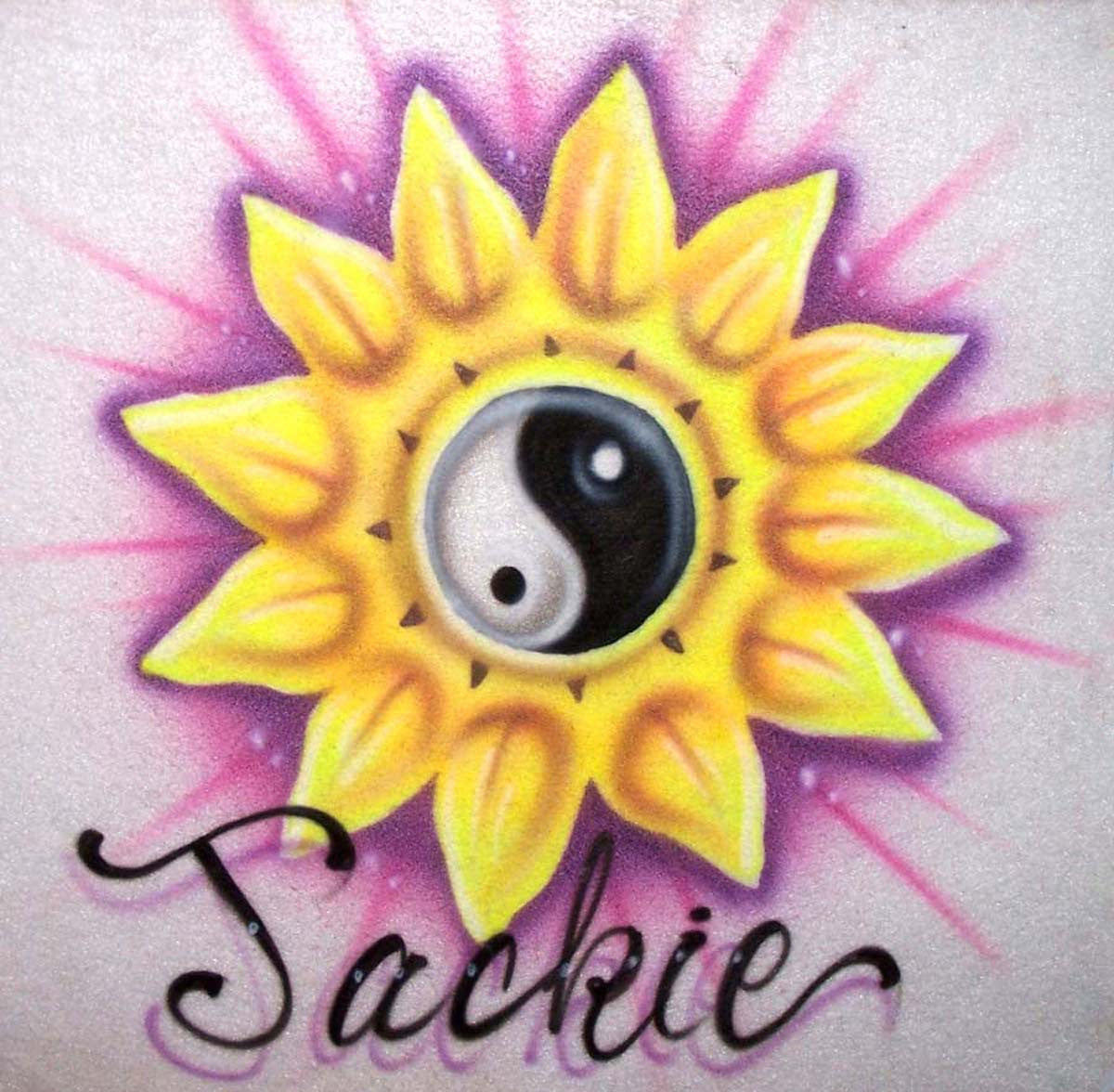 Sunflower and Yin Yang Symbol Personalized with Any Name on T's, Sweatshirts, and More