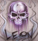 Skull and smoke with any name airbrushed on t-shirts