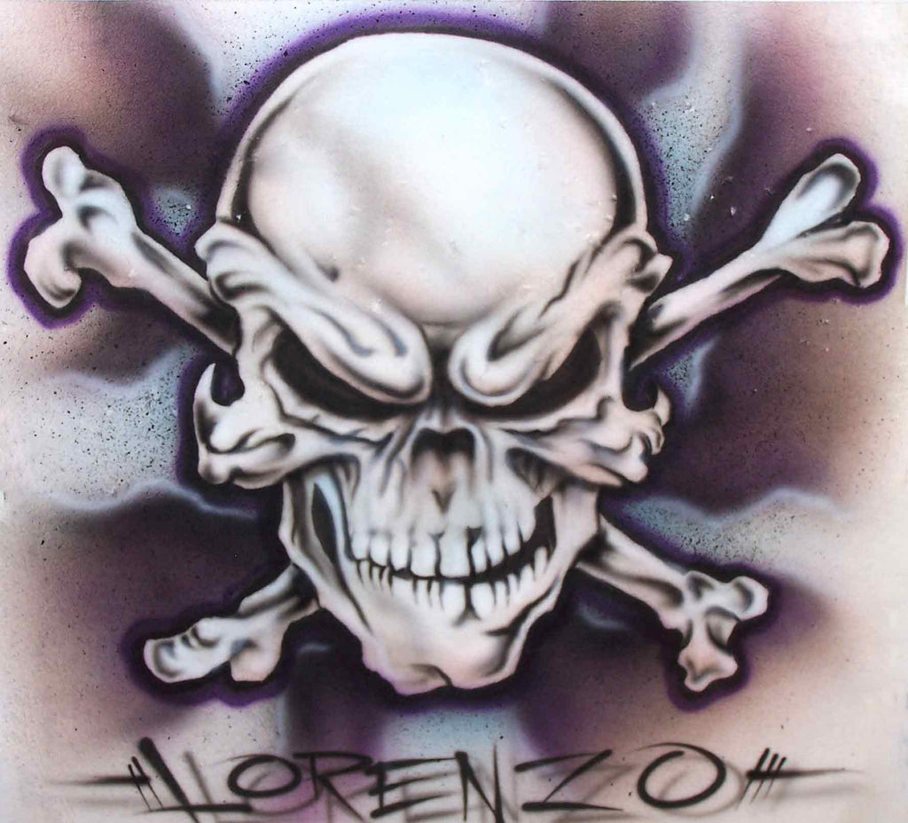 Airbrushed Mean Skull & Bones with Smoked Background