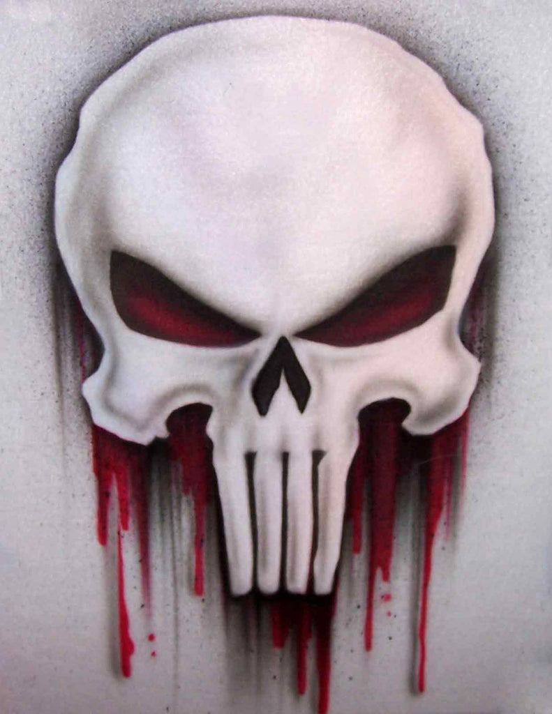 Bleeding Punisher Skull Airbrushed T-Shirt or Sweatshirt