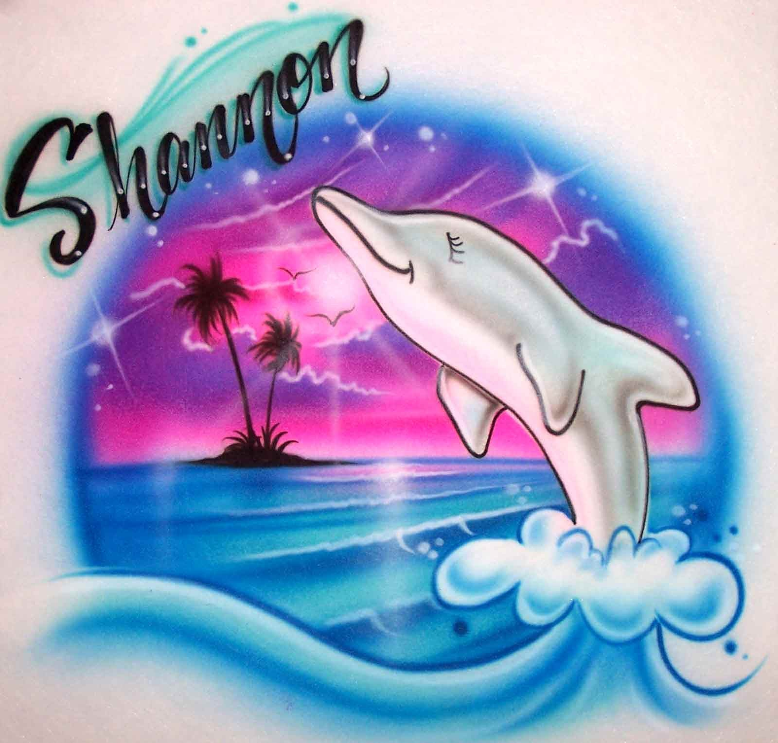 Airbrush dolphin and beach personalized t-shirt